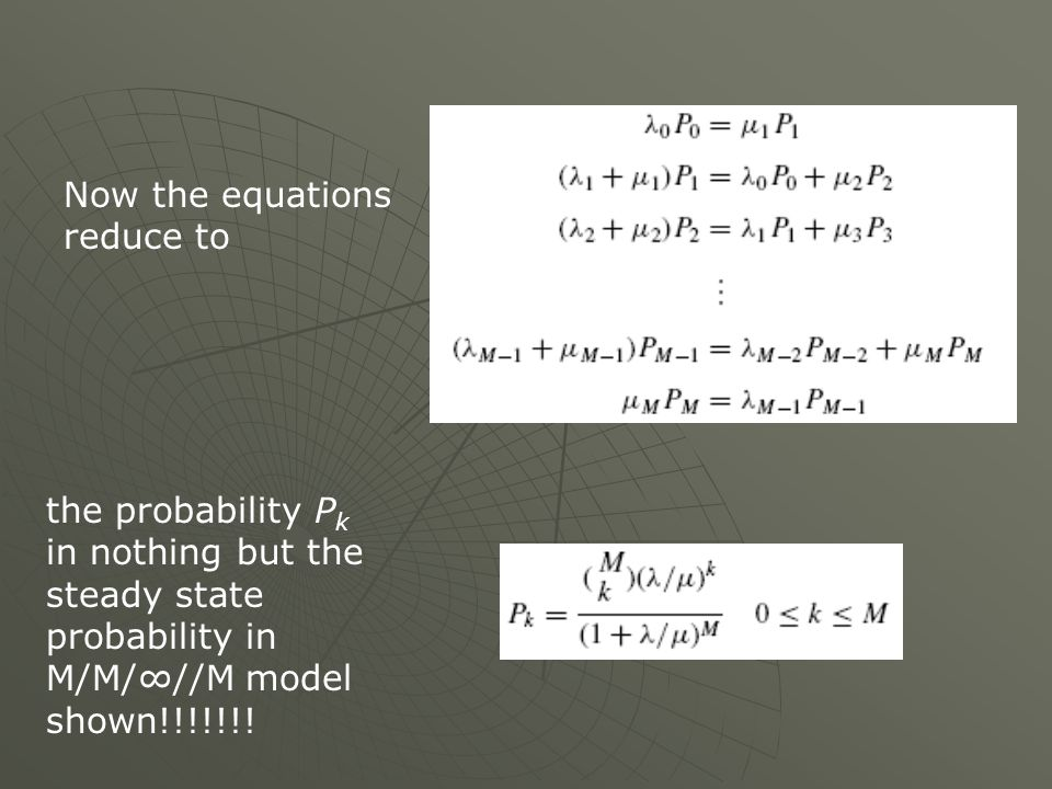 Now the equations reduce to the probability P k in nothing but the steady state probability in M/M///M model shown!!!!!!!