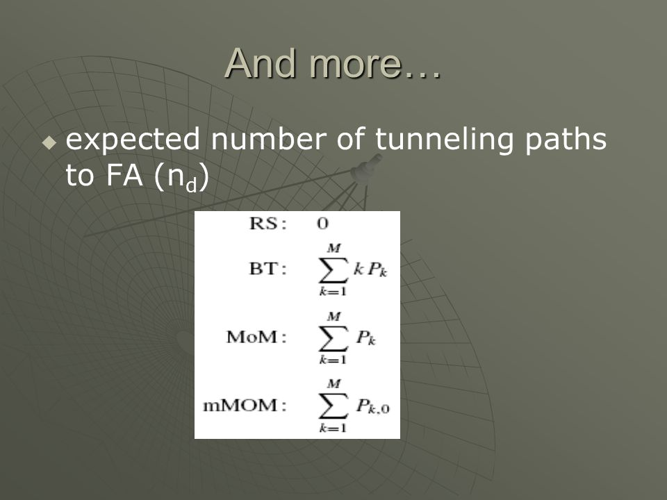 And more… expected number of tunneling paths to FA (n d )