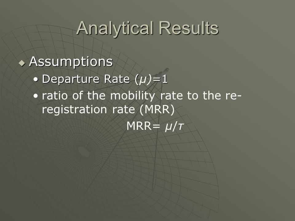 Analytical Results Assumptions Assumptions Departure Rate (=1Departure Rate (μ)=1 ratio of the mobility rate to the re- registration rate (MRR) MRR= μ/τ