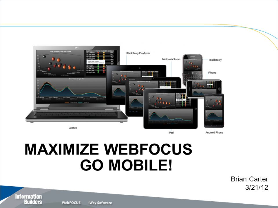 MAXIMIZE WEBFOCUS GO MOBILE! Copyright 2010, Information Builders. Slide 1 Brian Carter 3/21/12