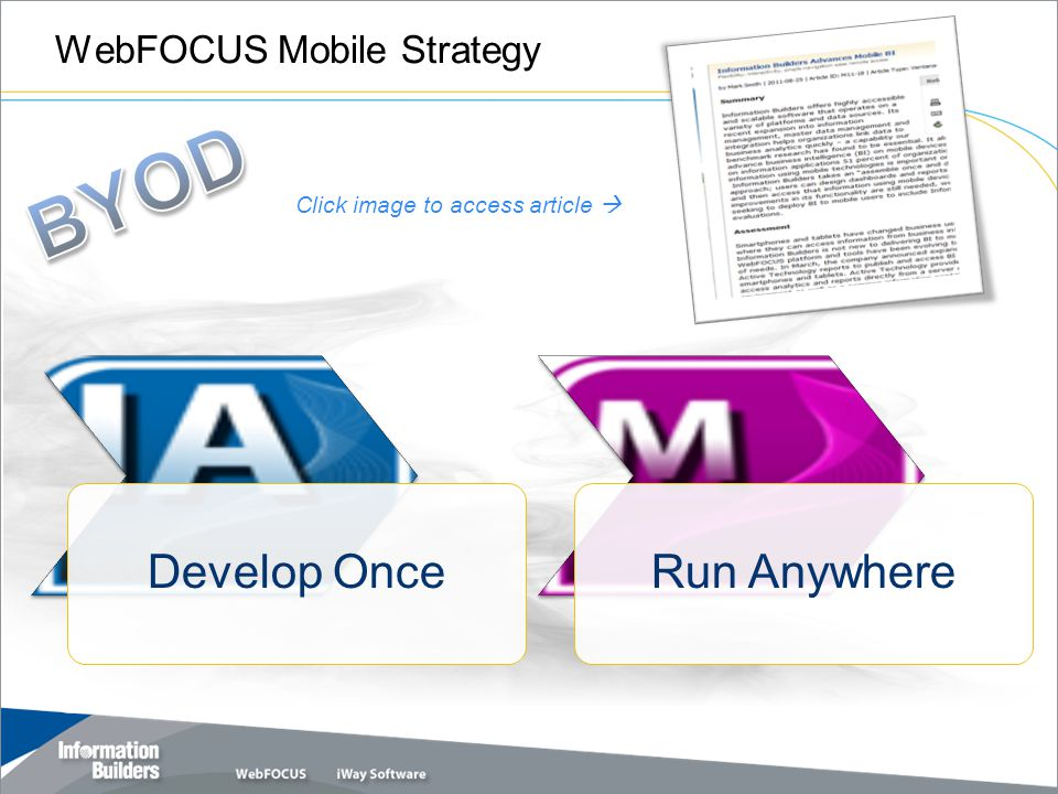 WebFOCUS Mobile Strategy Copyright 2010, Information Builders.