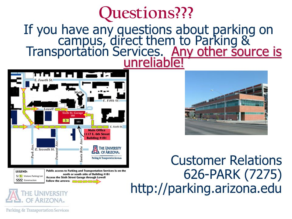 The University of Arizona Parking Survival Guide  - ppt download