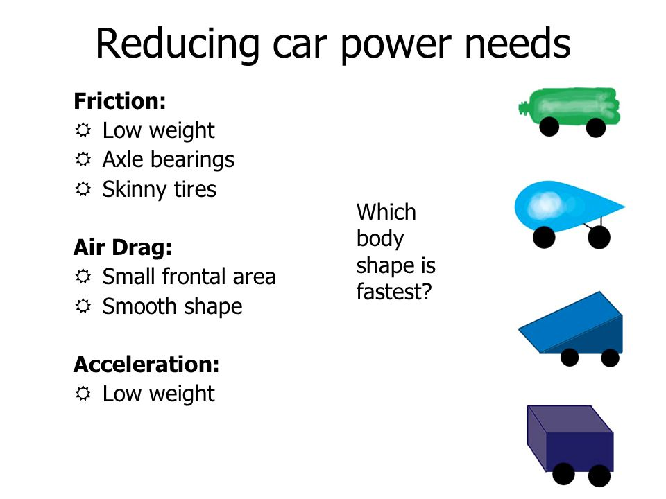 Reducing car power needs Friction: RLow weight RAxle bearings RSkinny tires Air Drag: RSmall frontal area RSmooth shape Acceleration: RLow weight Which body shape is fastest