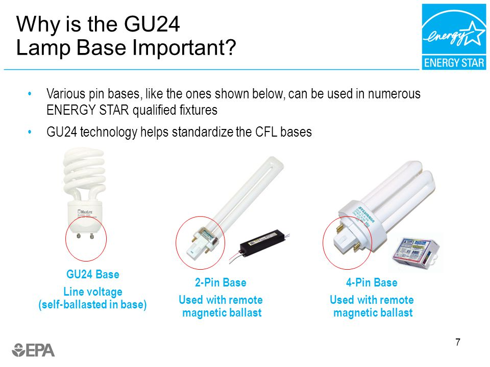 7 GU24 Base Line voltage (self-ballasted in base) 2-Pin Base Used with remote magnetic ballast Various pin bases, like the ones shown below, can be used in numerous ENERGY STAR qualified fixtures GU24 technology helps standardize the CFL bases Why is the GU24 Lamp Base Important.