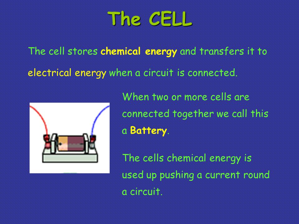 The CELL The cell stores chemical energy and transfers it to electrical energy when a circuit is connected.