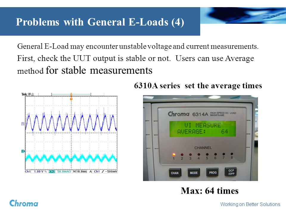 Working on Better Solutions Problems with General E-Loads (4) General E-Load may encounter unstable voltage and current measurements.