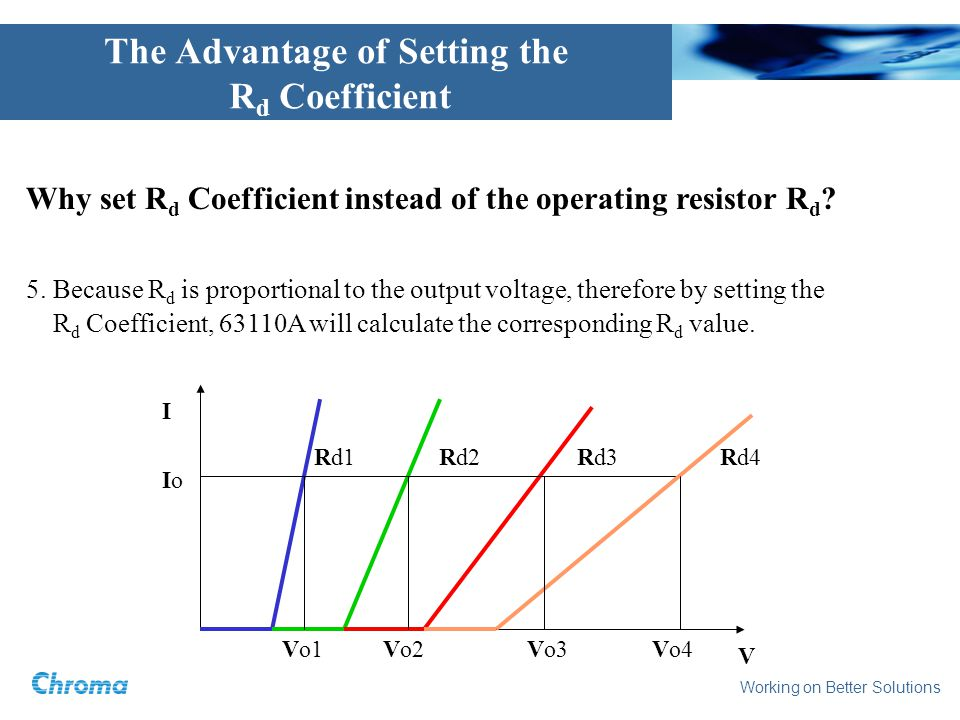 Working on Better Solutions The Advantage of Setting the R d Coefficient Why set R d Coefficient instead of the operating resistor R d .