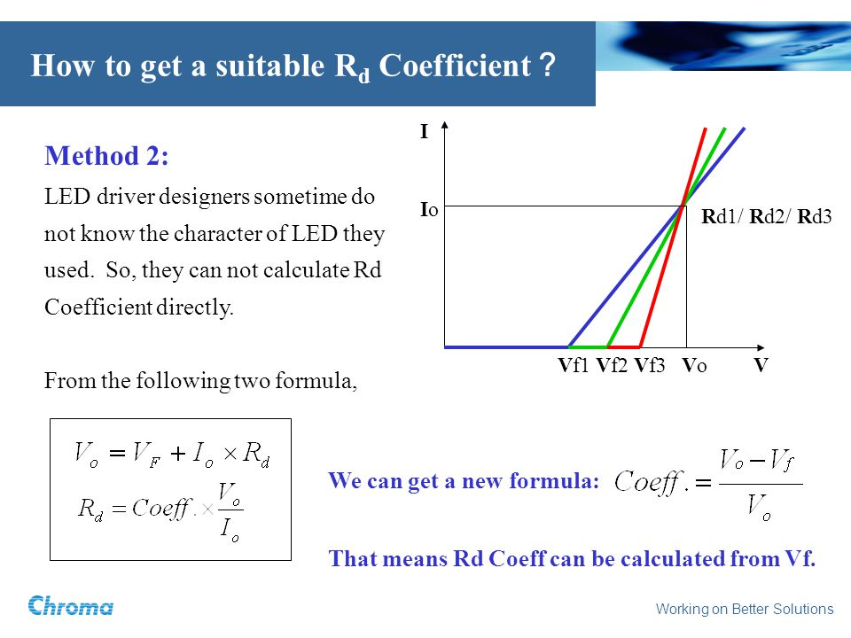 Working on Better Solutions How to get a suitable R d Coefficient Method 2: LED driver designers sometime do not know the character of LED they used.
