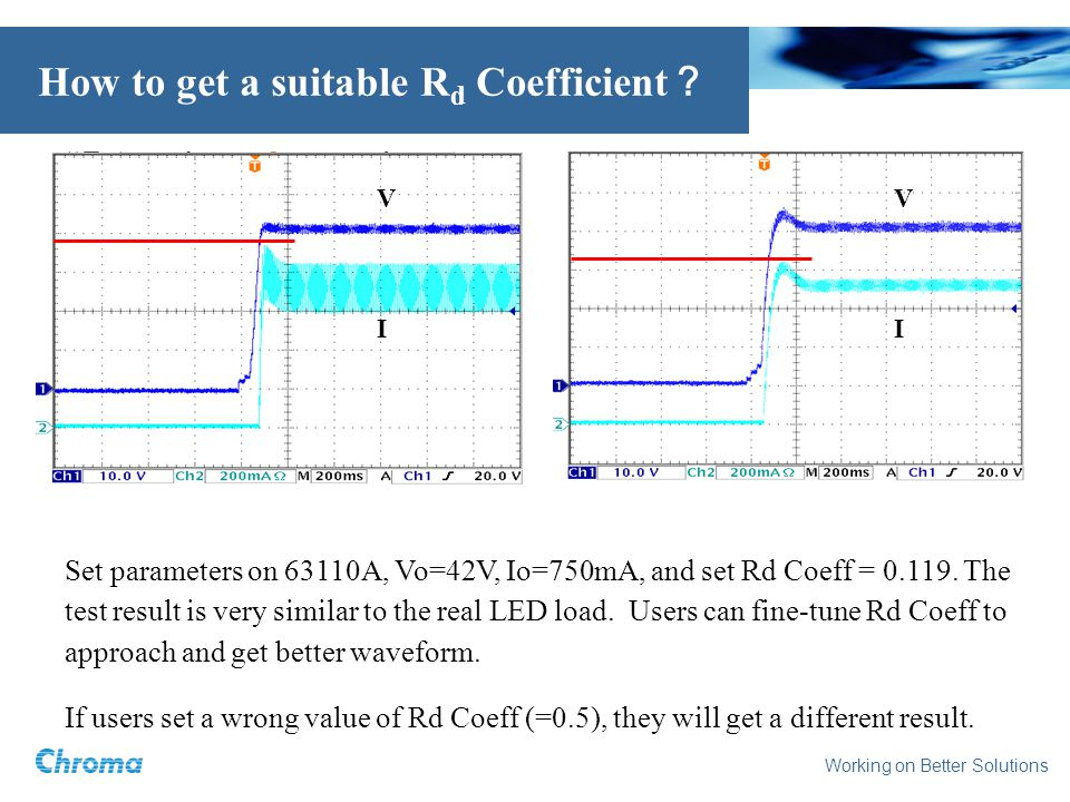 Working on Better Solutions How to get a suitable R d Coefficient Set parameters on 63110A, Vo=42V, Io=750mA, and set Rd Coeff =