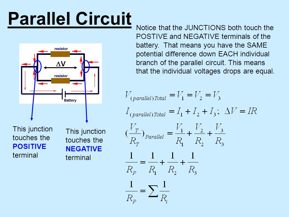 Parallel Circuit Notice that the JUNCTIONS both touch the POSTIVE and NEGATIVE terminals of the battery.