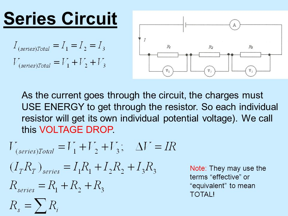 Series Circuit As the current goes through the circuit, the charges must USE ENERGY to get through the resistor.