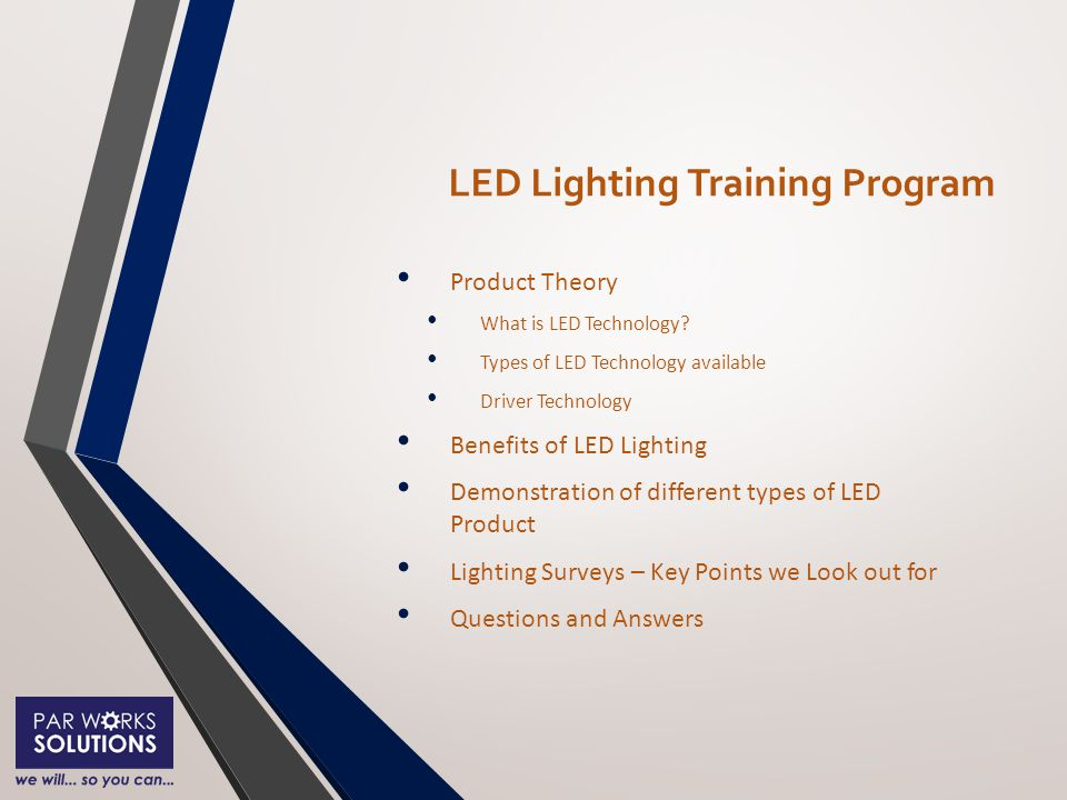 LED Lighting Training Program Product Theory What is LED Technology.
