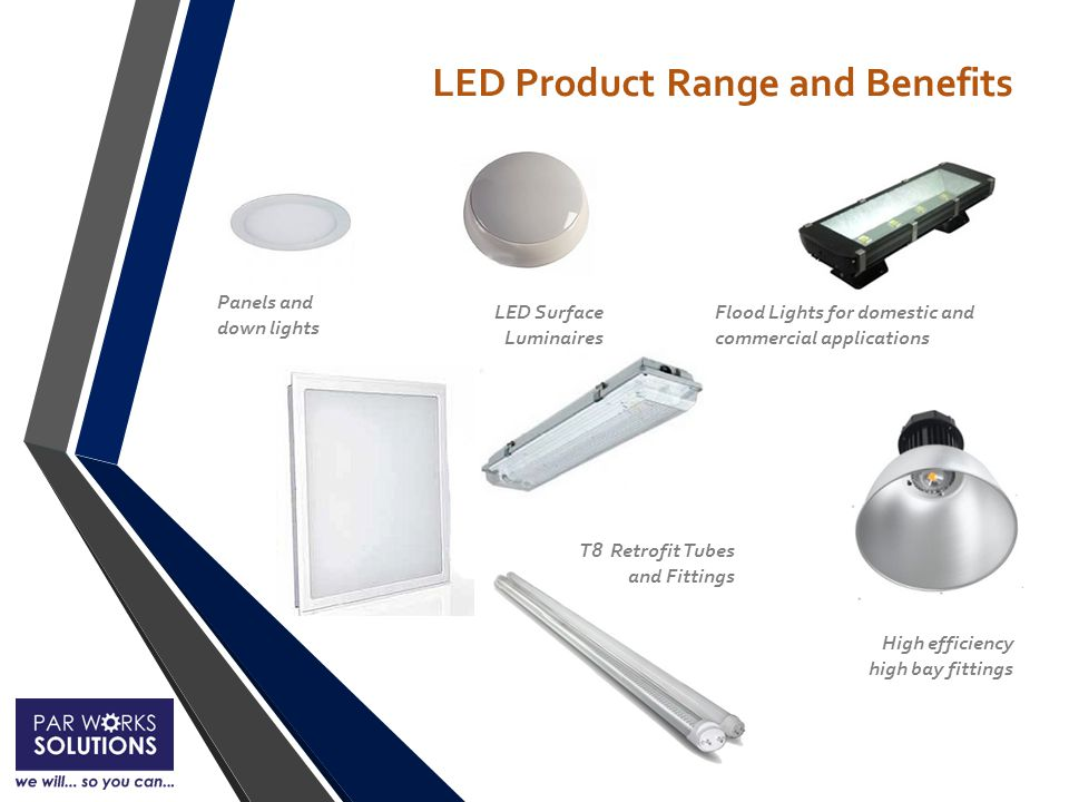 Panels and down lights T8 Retrofit Tubes and Fittings High efficiency high bay fittings Flood Lights for domestic and commercial applications LED Surface Luminaires LED Product Range and Benefits
