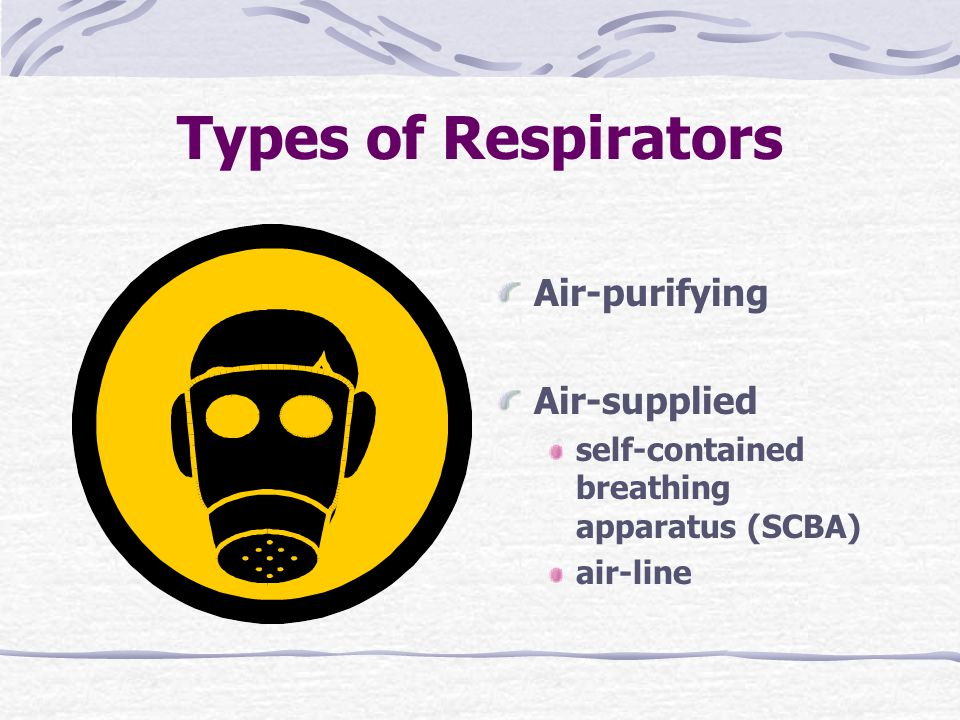 Types of Respirators Air-purifying Air-supplied self-contained breathing apparatus (SCBA) air-line