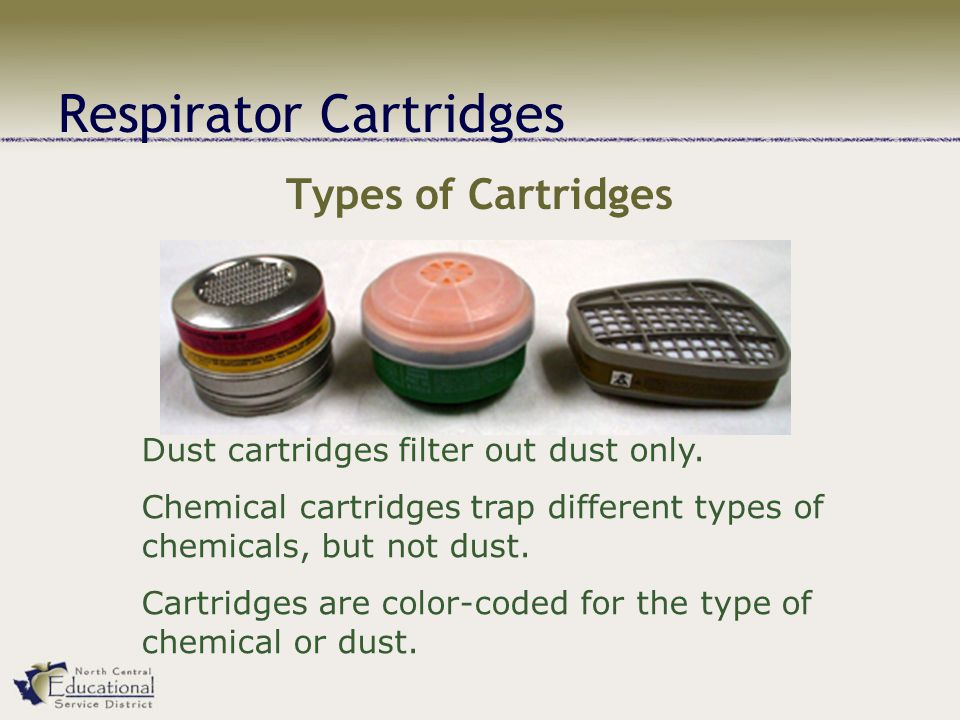Respirator Cartridges Types of Cartridges Dust cartridges filter out dust only.