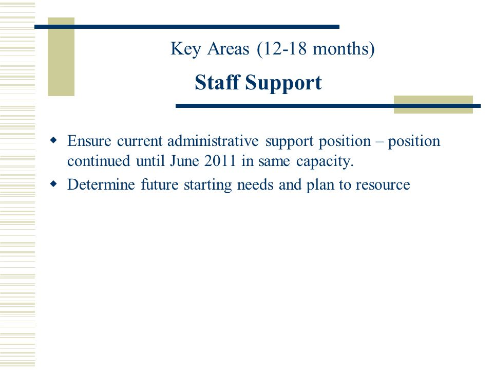 Staff Support Ensure current administrative support position – position continued until June 2011 in same capacity.