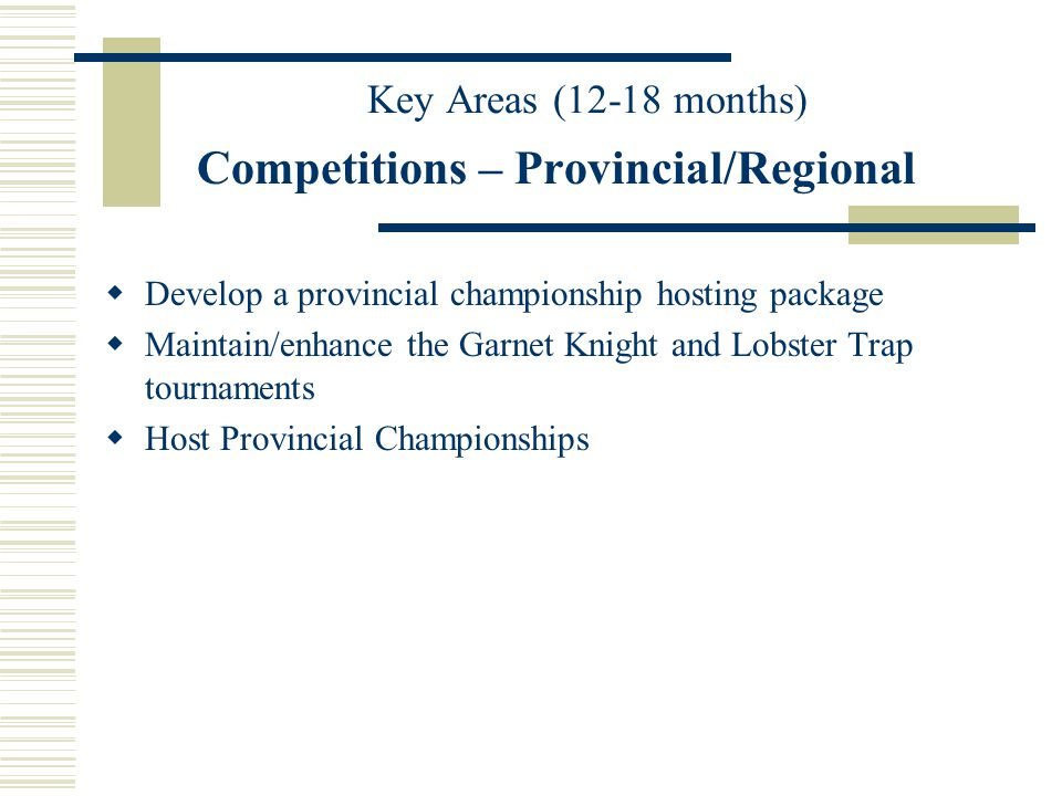 Competitions – Provincial/Regional Develop a provincial championship hosting package Maintain/enhance the Garnet Knight and Lobster Trap tournaments Host Provincial Championships Key Areas (12-18 months)