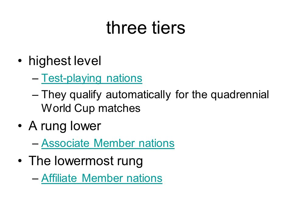 three tiers highest level –Test-playing nationsTest-playing nations –They qualify automatically for the quadrennial World Cup matches A rung lower –Associate Member nationsAssociate Member nations The lowermost rung –Affiliate Member nationsAffiliate Member nations
