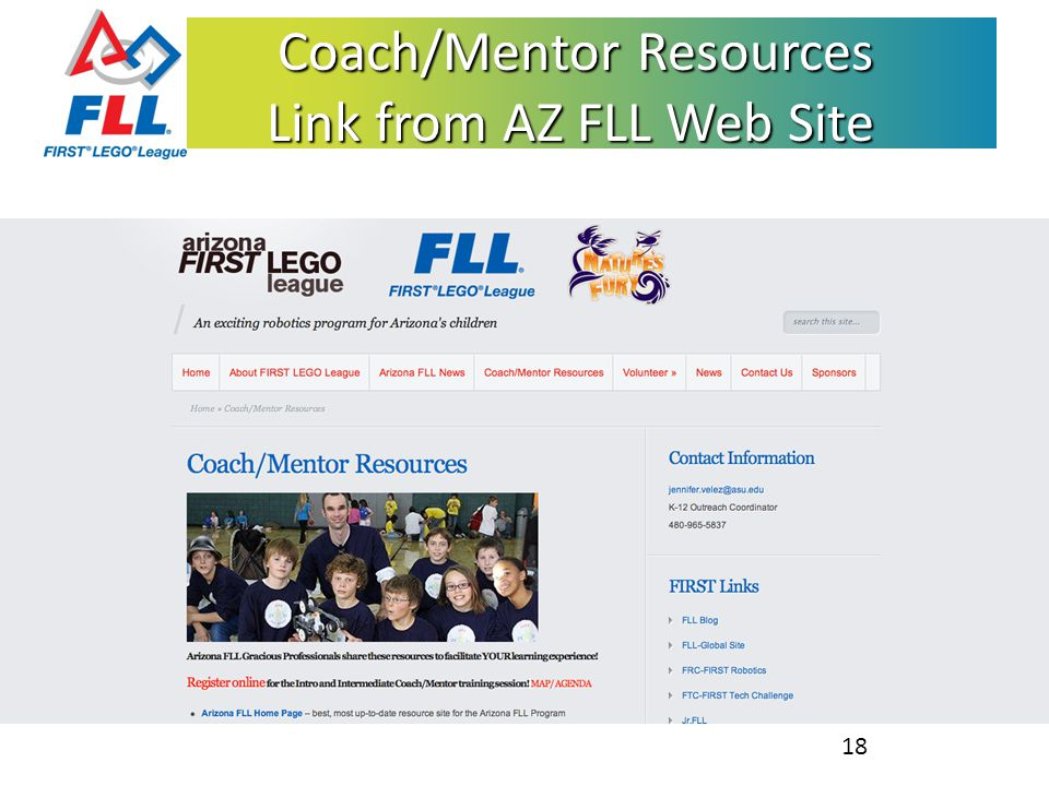 Coach/Mentor Resources Link from AZ FLL Web Site Coach/Mentor Resources Link from AZ FLL Web Site 18