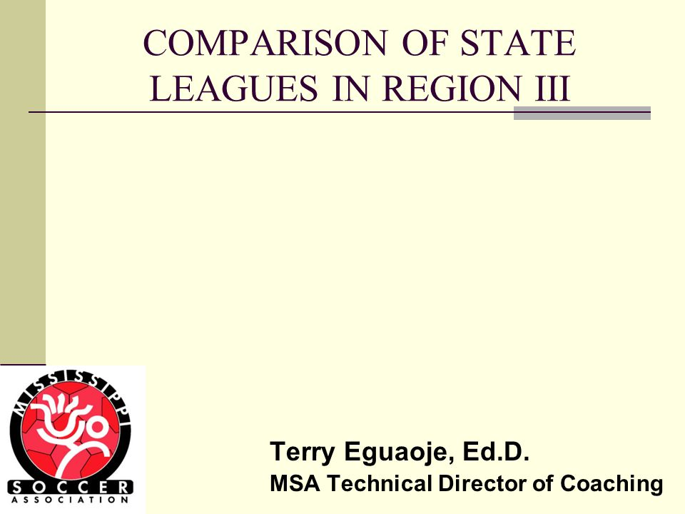 COMPARISON OF STATE LEAGUES IN REGION III Terry Eguaoje, Ed.D. MSA Technical Director of Coaching