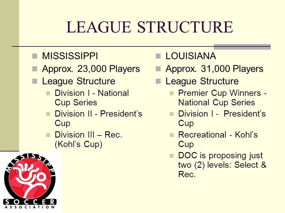LEAGUE STRUCTURE MISSISSIPPI Approx.
