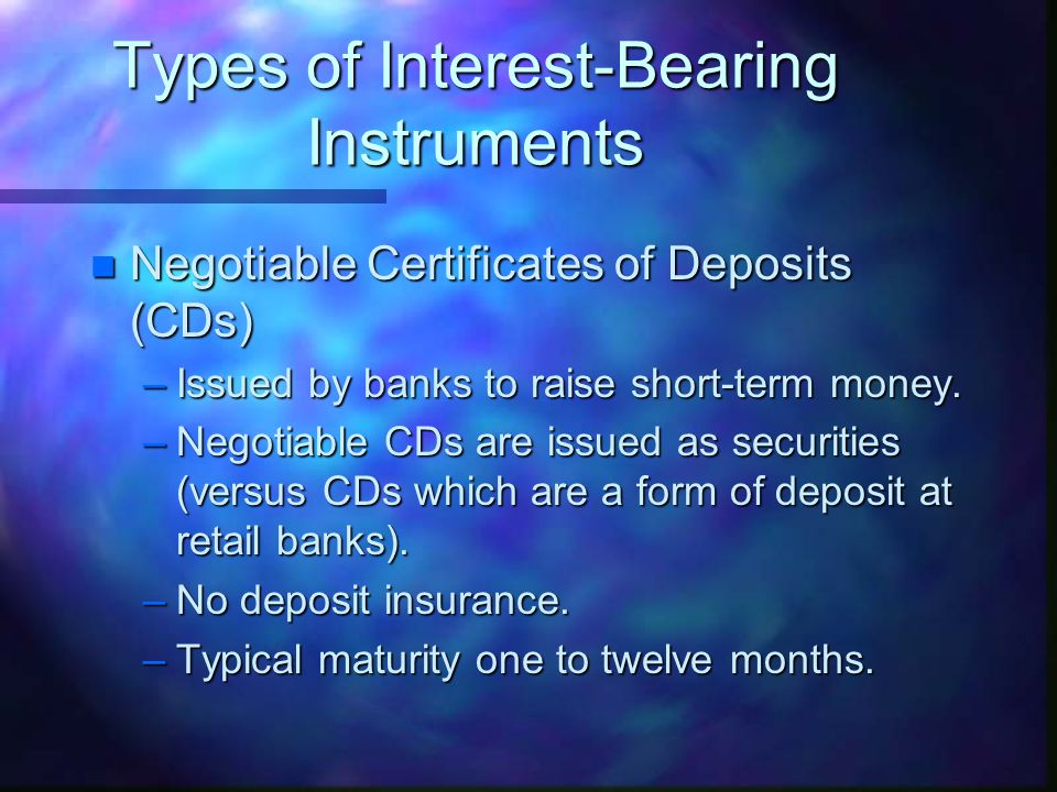 Money Market Instruments. n money market instruments are defined as ...