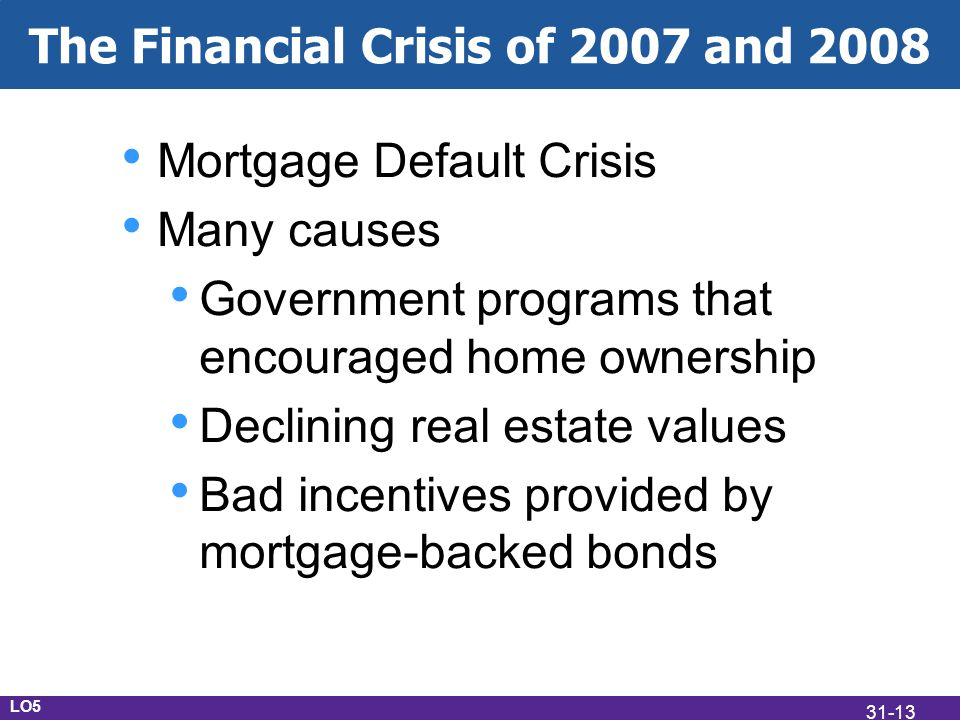 The Financial Crisis of 2007 and 2008 Mortgage Default Crisis Many causes Government programs that encouraged home ownership Declining real estate values Bad incentives provided by mortgage-backed bonds LO