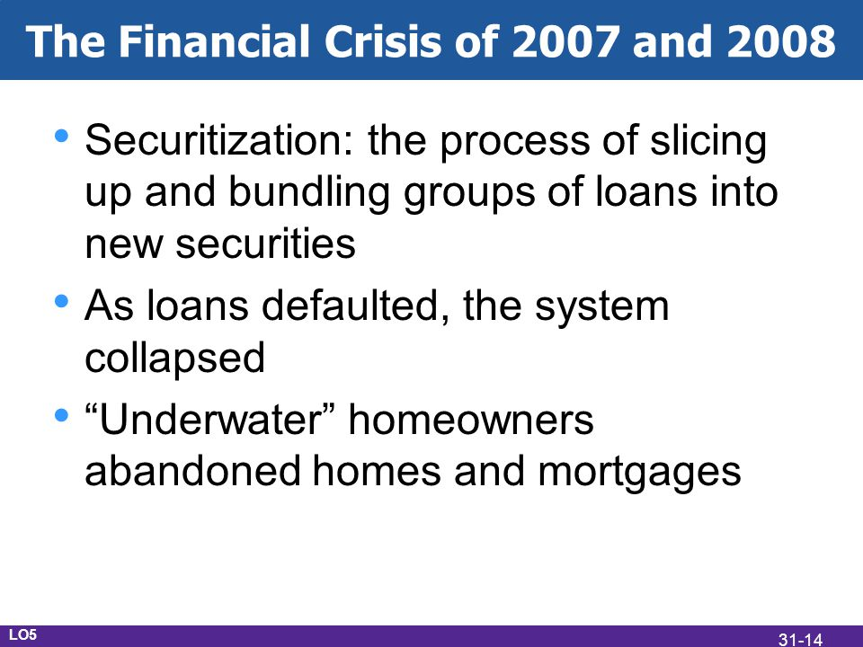 The Financial Crisis of 2007 and 2008 Securitization: the process of slicing up and bundling groups of loans into new securities As loans defaulted, the system collapsed Underwater homeowners abandoned homes and mortgages LO