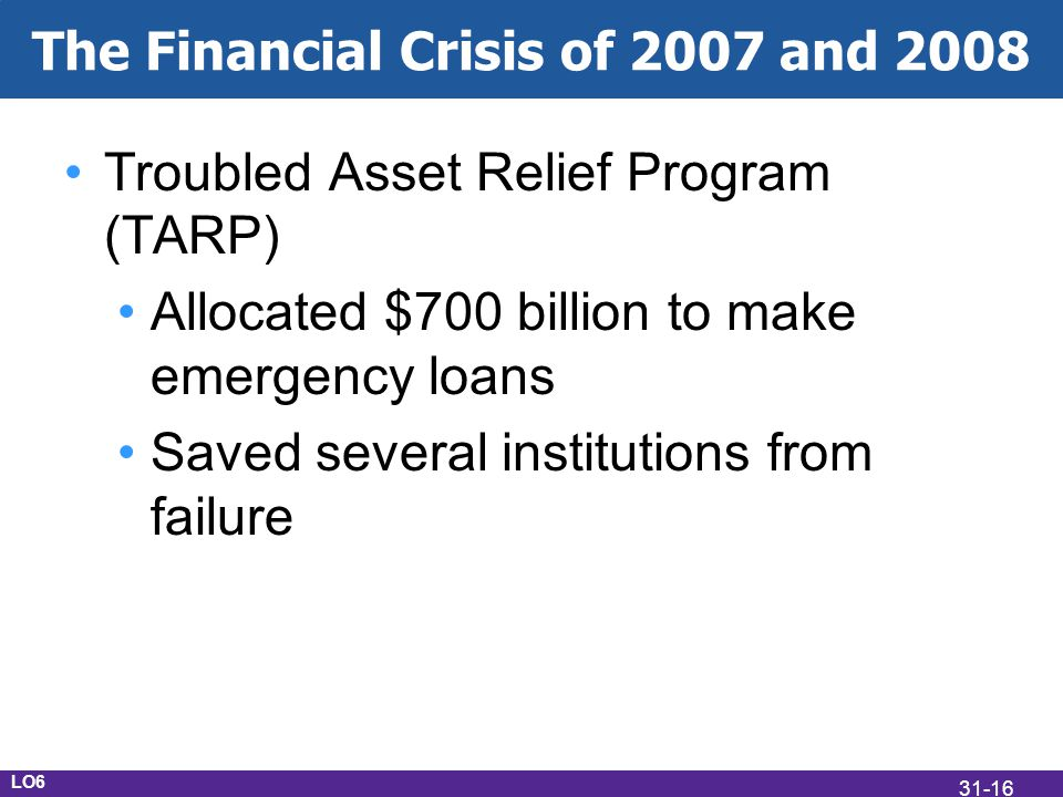 The Financial Crisis of 2007 and 2008 Troubled Asset Relief Program (TARP) Allocated $700 billion to make emergency loans Saved several institutions from failure LO