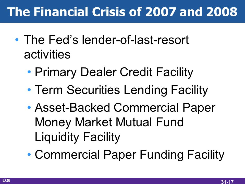 The Financial Crisis of 2007 and 2008 The Feds lender-of-last-resort activities Primary Dealer Credit Facility Term Securities Lending Facility Asset-Backed Commercial Paper Money Market Mutual Fund Liquidity Facility Commercial Paper Funding Facility LO