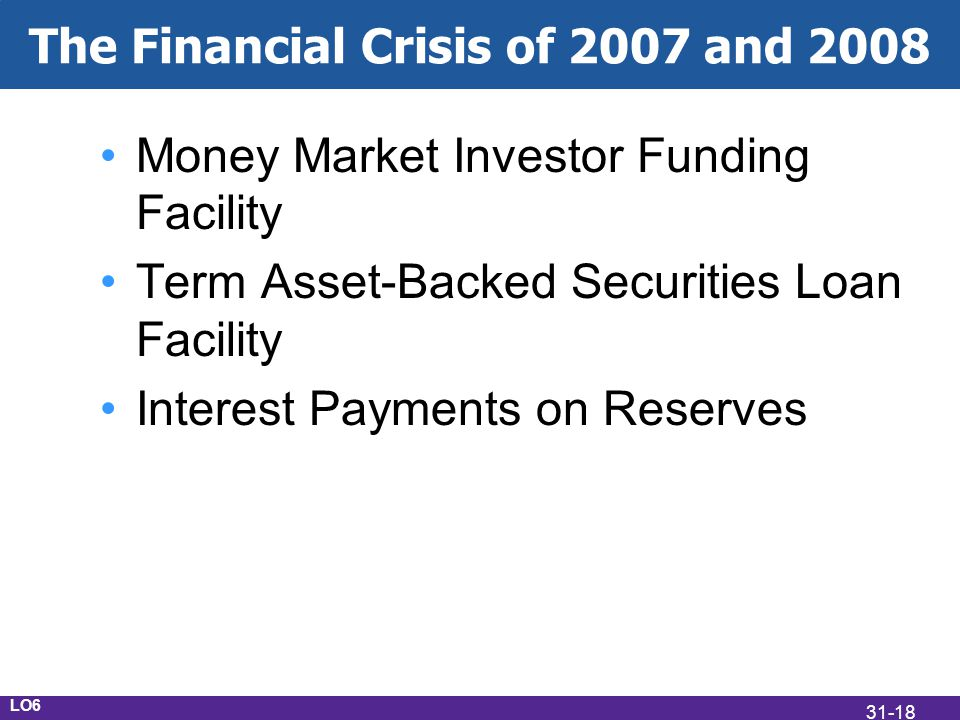 The Financial Crisis of 2007 and 2008 Money Market Investor Funding Facility Term Asset-Backed Securities Loan Facility Interest Payments on Reserves LO