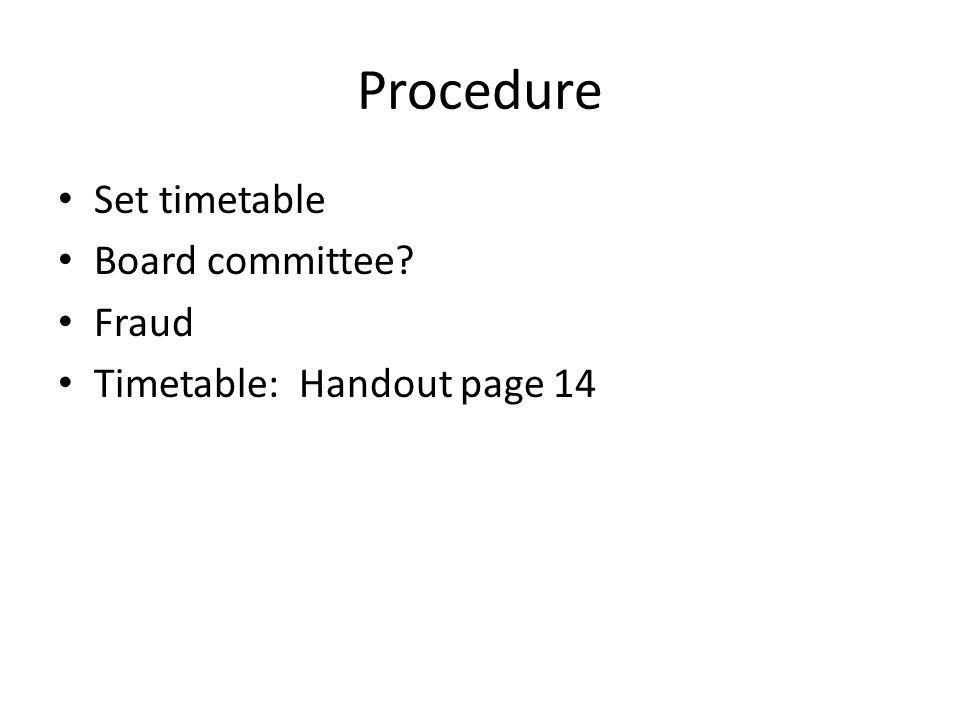 Procedure Set timetable Board committee Fraud Timetable: Handout page 14