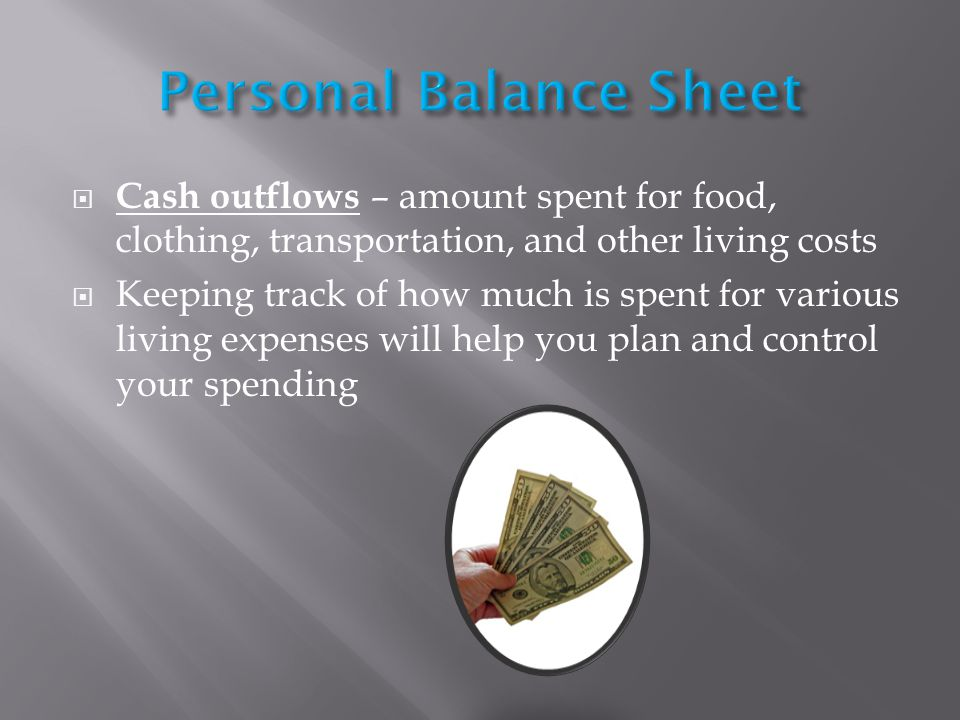 Cash outflows – amount spent for food, clothing, transportation, and other living costs Keeping track of how much is spent for various living expenses will help you plan and control your spending