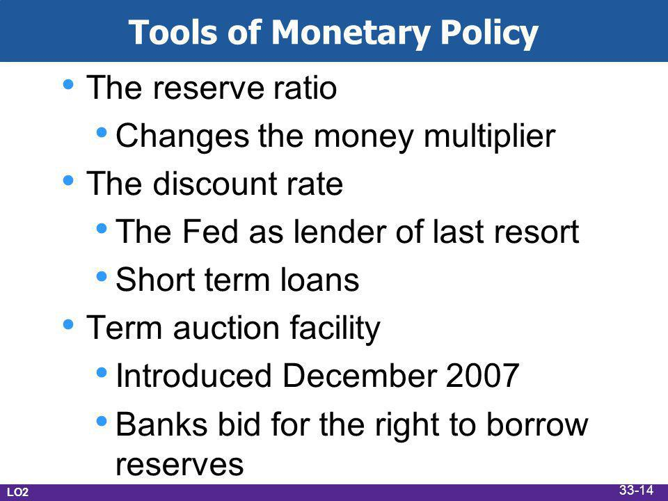 Tools of Monetary Policy The reserve ratio Changes the money multiplier The discount rate The Fed as lender of last resort Short term loans Term auction facility Introduced December 2007 Banks bid for the right to borrow reserves LO