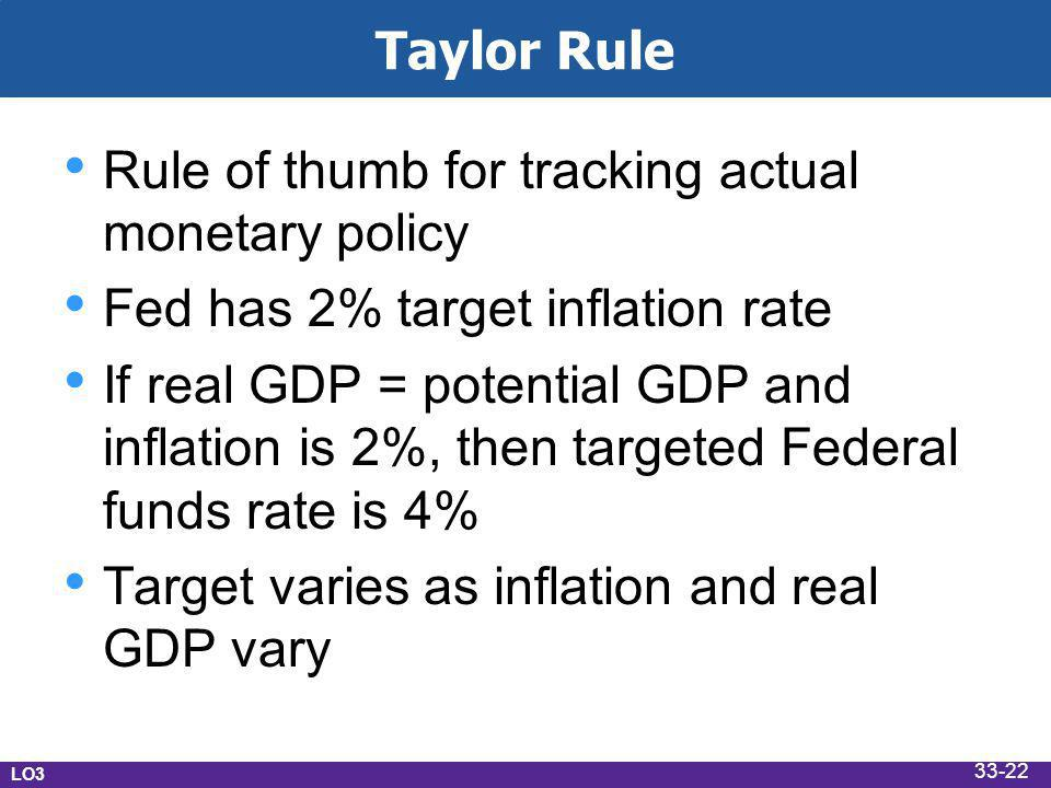 Taylor Rule Rule of thumb for tracking actual monetary policy Fed has 2% target inflation rate If real GDP = potential GDP and inflation is 2%, then targeted Federal funds rate is 4% Target varies as inflation and real GDP vary LO