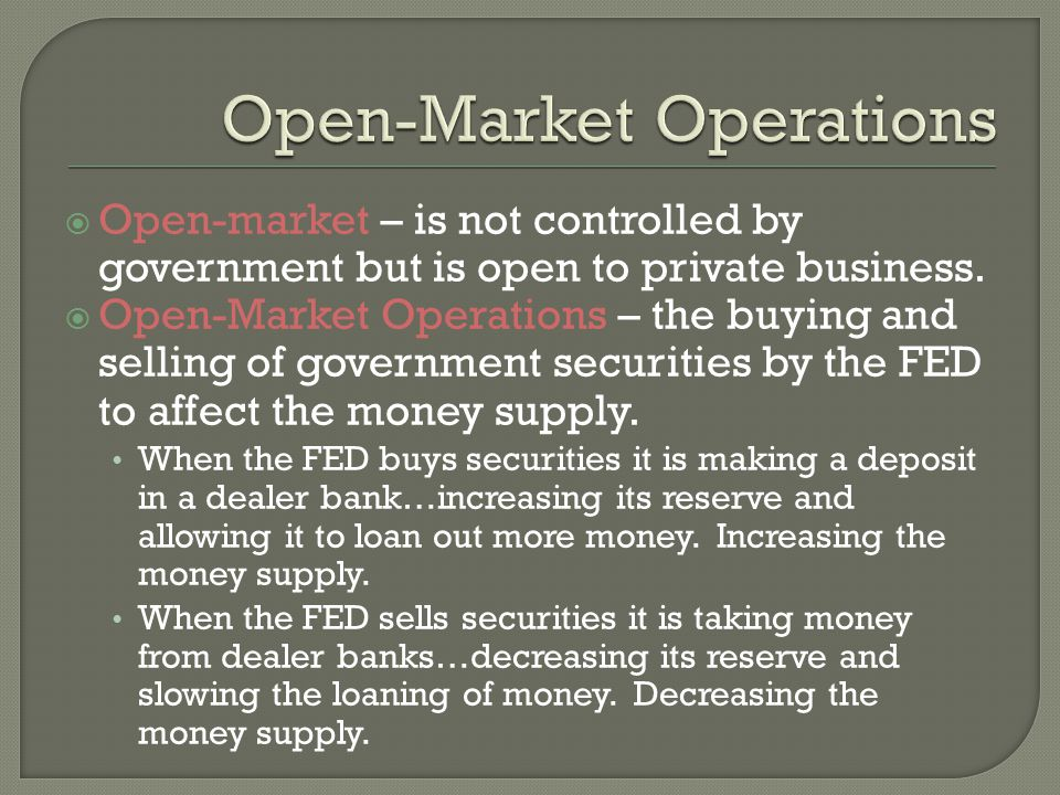 Open-market – is not controlled by government but is open to private business.