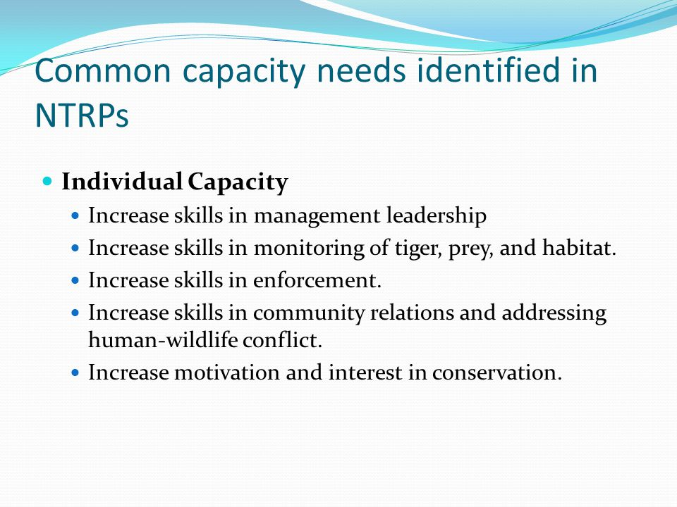 Common capacity needs identified in NTRPs Individual Capacity Increase skills in management leadership Increase skills in monitoring of tiger, prey, and habitat.