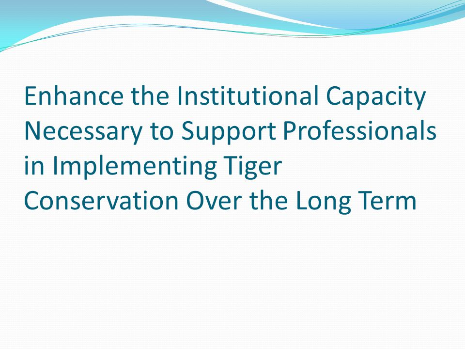 Enhance the Institutional Capacity Necessary to Support Professionals in Implementing Tiger Conservation Over the Long Term