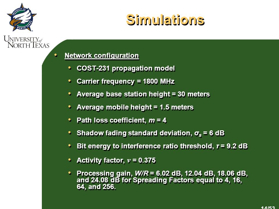 14/53 Simulations Network configuration COST-231 propagation model Carrier frequency = 1800 MHz Average base station height = 30 meters Average mobile height = 1.5 meters Path loss coefficient, m = 4 Shadow fading standard deviation, σ s = 6 dB Bit energy to interference ratio threshold, τ = 9.2 dB Activity factor, v = Processing gain, W/R = 6.02 dB, dB, dB, and dB for Spreading Factors equal to 4, 16, 64, and 256.
