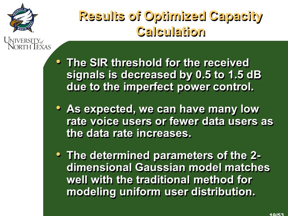 19/53 Results of Optimized Capacity Calculation The SIR threshold for the received signals is decreased by 0.5 to 1.5 dB due to the imperfect power control.