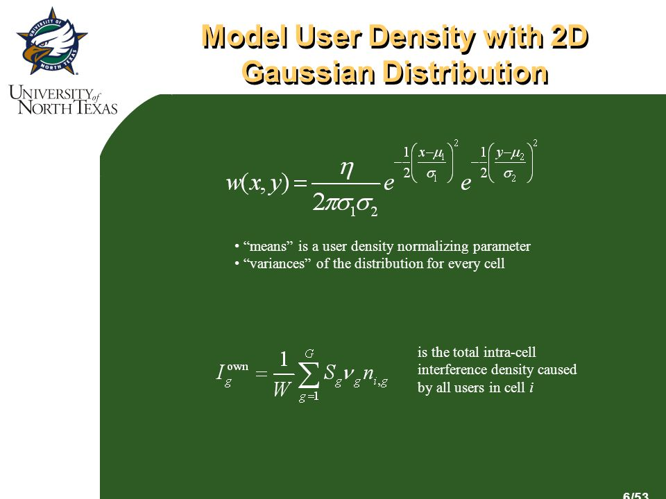 6/53 Model User Density with 2D Gaussian Distribution is the total intra-cell interference density caused by all users in cell i means is a user density normalizing parameter variances of the distribution for every cell