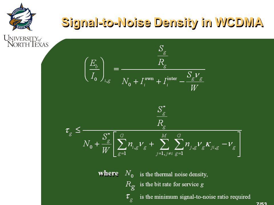 7/53 Signal-to-Noise Density in WCDMA is the thermal noise density, is the bit rate for service g is the minimum signal-to-noise ratio required where