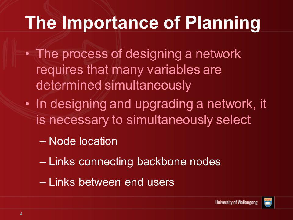 4 The Importance of Planning The process of designing a network requires that many variables are determined simultaneously In designing and upgrading a network, it is necessary to simultaneously select –Node location –Links connecting backbone nodes –Links between end users
