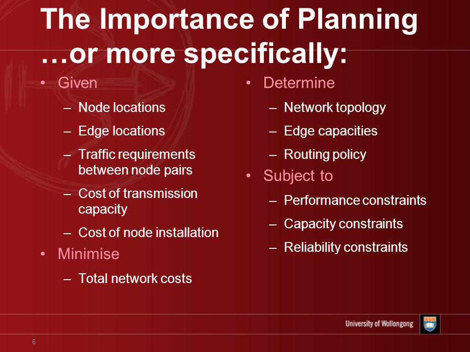 6 The Importance of Planning …or more specifically: Given –Node locations –Edge locations –Traffic requirements between node pairs –Cost of transmission capacity –Cost of node installation Minimise –Total network costs Determine –Network topology –Edge capacities –Routing policy Subject to –Performance constraints –Capacity constraints –Reliability constraints