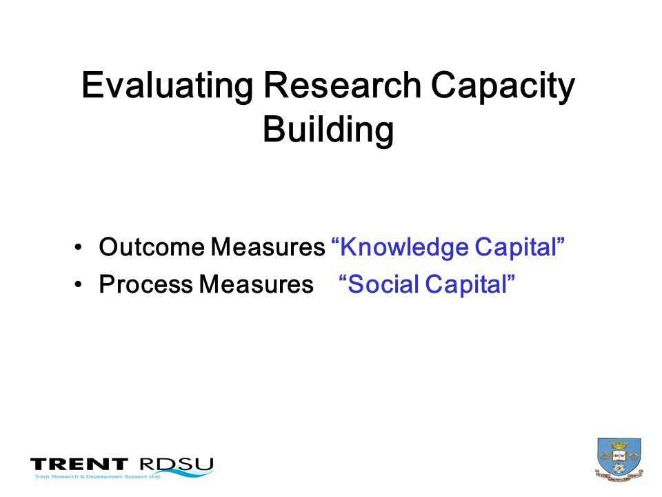 Evaluating Research Capacity Building Outcome Measures Knowledge Capital Process Measures Social Capital