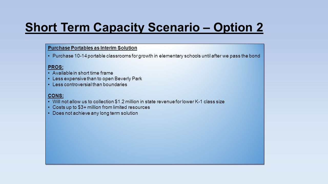 Short Term Capacity Scenario – Option 2 Purchase Portables as Interim Solution Purchase portable classrooms for growth in elementary schools until after we pass the bond PROS: Available in short time frame Less expensive than to open Beverly Park Less controversial than boundaries CONS: Will not allow us to collection $1.2 million in state revenue for lower K-1 class size Costs up to $3+ million from limited resources Does not achieve any long term solution Purchase Portables as Interim Solution Purchase portable classrooms for growth in elementary schools until after we pass the bond PROS: Available in short time frame Less expensive than to open Beverly Park Less controversial than boundaries CONS: Will not allow us to collection $1.2 million in state revenue for lower K-1 class size Costs up to $3+ million from limited resources Does not achieve any long term solution