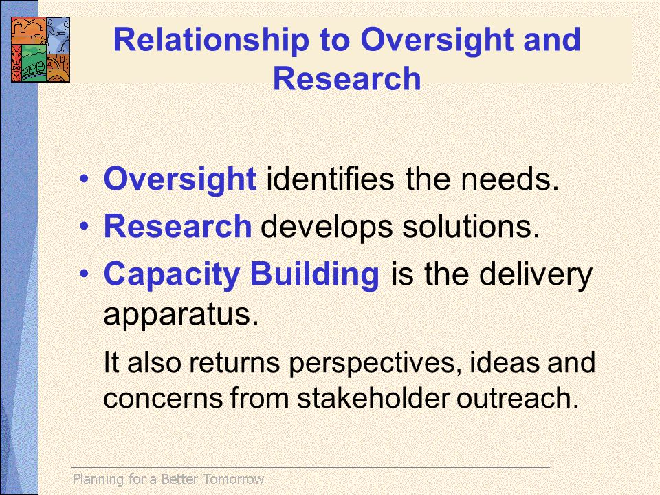 Oversight identifies the needs. Research develops solutions.