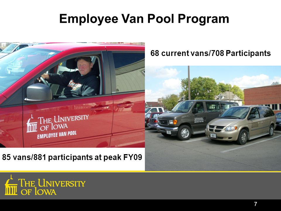 7 Employee Van Pool Program 68 current vans/708 Participants 85 vans/881 participants at peak FY09