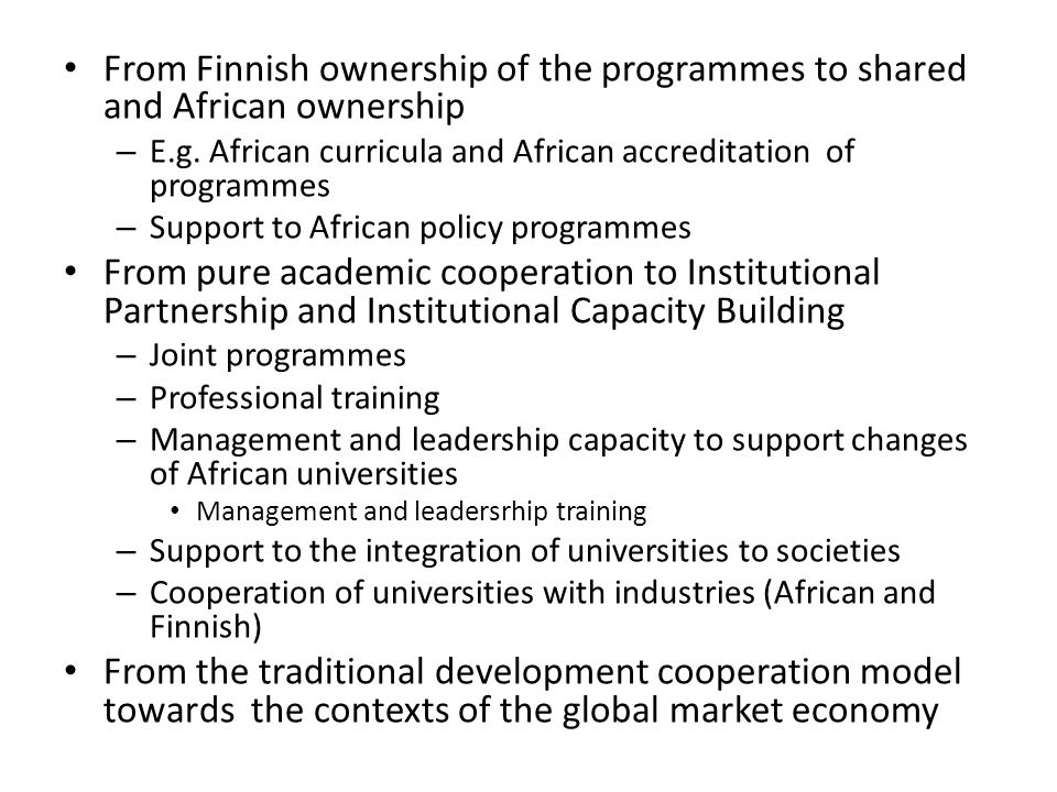 From Finnish ownership of the programmes to shared and African ownership – E.g.