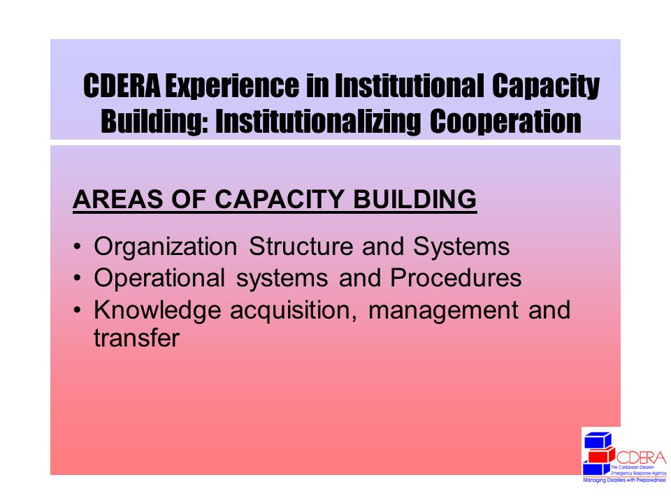 CDERA Experience in Institutional Capacity Building: Institutionalizing Cooperation AREAS OF CAPACITY BUILDING Organization Structure and Systems Operational systems and Procedures Knowledge acquisition, management and transfer